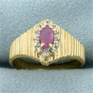 Vintage Pink Sapphire and Diamond Ring in 10K Yellow