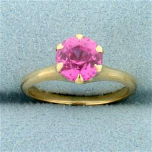 Vintage Lab Pink Sapphire Solitaire Ring in 10K Yellow