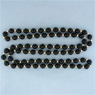 34 Inch Onyx and 14k Gold Bead Necklace