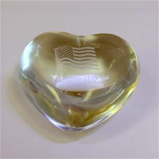 Baccarat Crystal 9-11 Memorial Heart Paperweight