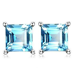 6MM Square Step Cut Natural Sky Blue Topaz Stud
