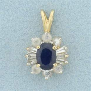 Blue and White Natural Sapphire Pendant in 14K Yellow