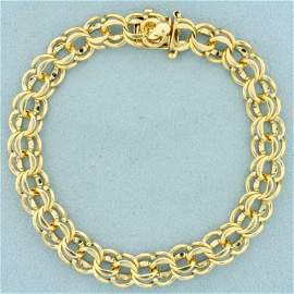 8 Inch Double Link Charm Bracelet in 14K Yellow Gold