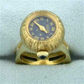 Vintage Lucien Piccard Finger Watch Ring in 14K Yellow