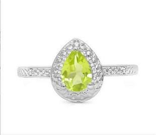 Peridot & Diamond Halo Ring in Sterling Silver