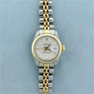 Rolex Ladies DateJust Watch With Diamond Dial and Two