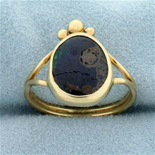 Natural Agate Ring in 14K Yellow Gold