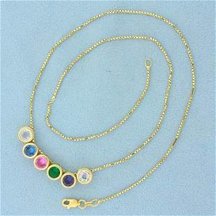 Lab Emerald, Sapphire, and Topaz Necklace in 14K Yellow