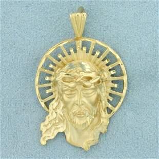 Diamond Cut Jesus Christ Pendant in 14K Yellow Gold