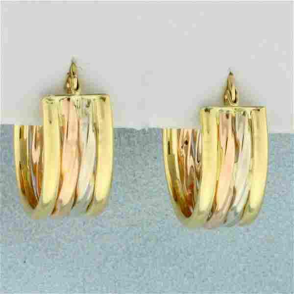 Tri-Tone Hoop Earrings in 18K Yellow, White, and Rose