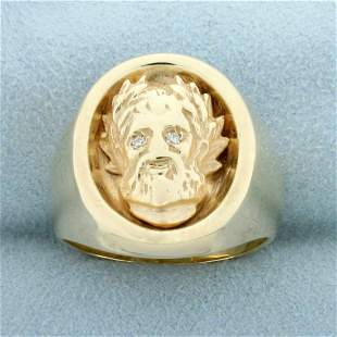 Men's Jesus Christ with Crown of Thorns Diamond Ring in