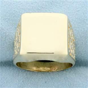 Men's Large Flower Design Signet Ring in 14K Yellow