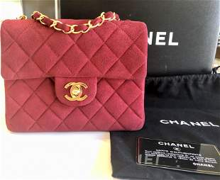 Genuine Chanel Mini Red Suede Classic Square Flap Bag