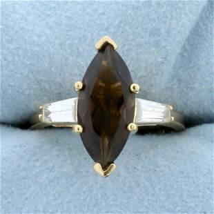 Smoky Topaz and CZ Statement Ring in 14K Yellow Gold