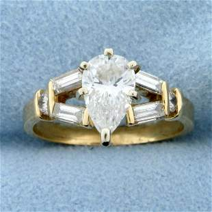 1.5ct TW Pear Diamond Engagement Ring in 14K Yellow