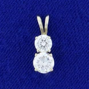 2-Stone Diamond Pendant .85ct TW in 14K White Gold