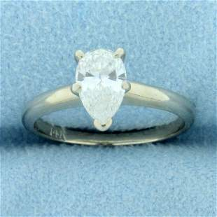 1ct Pear Diamond Solitaire Engagement Ring in 14K White