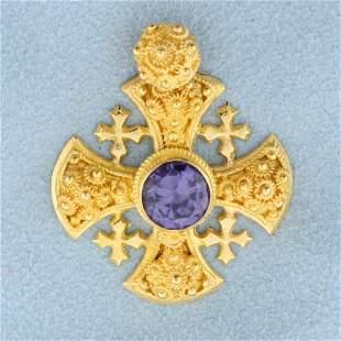 2ct Purple Sapphire Designer Iron Cross Pendant in 18K
