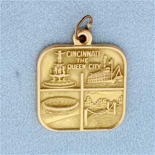 Cincinnati the Queen City Pendant in 14K Yellow Gold