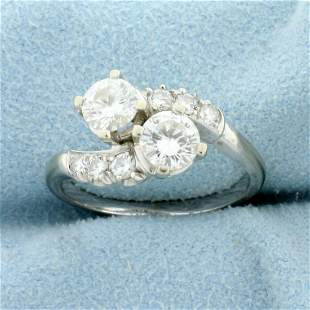 Over 1ct TW Diamond Bypass Ring in 18K White Gold
