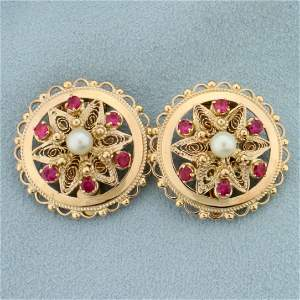Vintage Ruby and Pearl Disc Clip On Earrings for in 14K