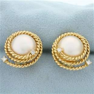 South Sea Pearl and Diamond Earrings in 14K Yellow Gold