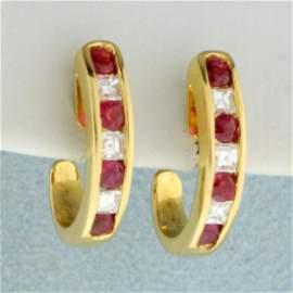 1ct TW Ruby and Diamond Half Hoop Huggie Earrings in