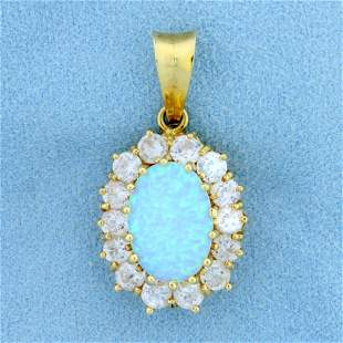 Italian-Made Lab Created Opal and CZ Pendant in 14K