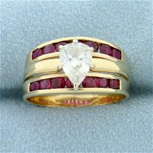 1.5ct TW Diamond and Ruby Ring in 14K Yellow Gold