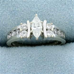 2/3ct TW Marquis Diamond Engagement Ring in 14K White
