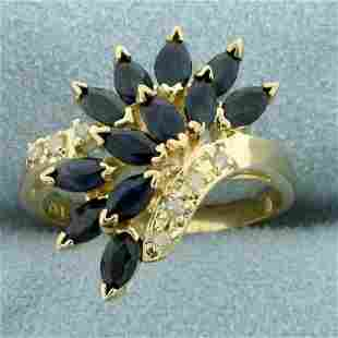 3ct TW Sapphire and Diamond Ring in 10K Yellow Gold