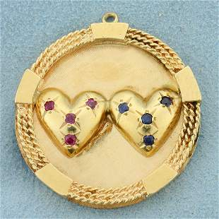 Natural Ruby and Sapphire Heart Pendant in 14K Yellow