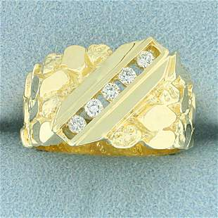 Men's 1/4ct TW Diamond Nugget Style Ring in 14k Yellow