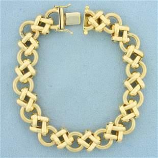 Italian Made Circle and Square Designer Link Bracelet