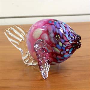 Murano Glass Hand Made Blowfish Signed