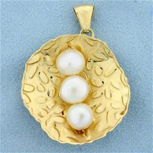 Italian-Made Three Pearl Pendant in 14K Yellow Gold