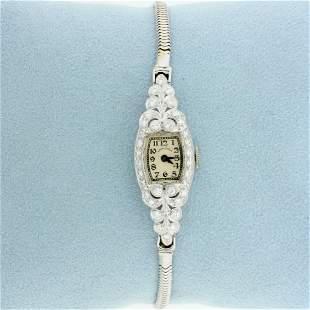 Antique womens Diamond Windup Hamilton Wrist Watch in