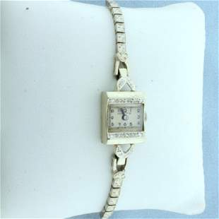 Vintage Womens Hampden Diamond Watch in Solid 14K White