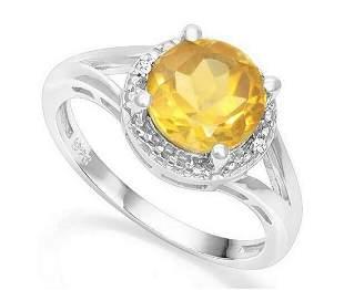 1.8CT Golden Citrine & Diamond Halo Ring in Sterling