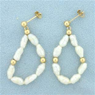 Baroque Pearl and Gold Bead Dangle Earrings in 14K