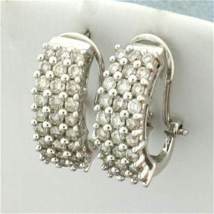 1ct TW Diamond Half Hoop Huggie Earrings in 14K White