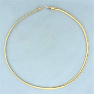 17 Inch Italian Omega Link Necklace in 10K Yellow Gold