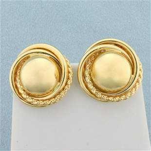 Designer Sphere Hoop Earrings in 14K Yellow Gold