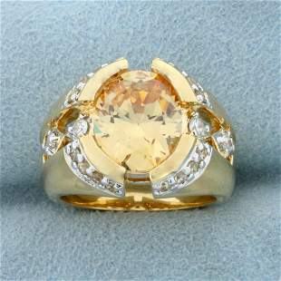 4ct Synthetic Citrine Ring in Gold Plated Sterling
