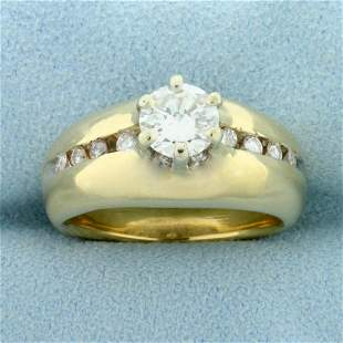 Over 1ct TW Diamond Engagement Ring in 14K Yellow Gold