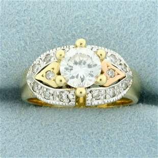 Over 1ct TW CZ Heart Design Engagement Ring in 14K