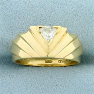 Pyramid Design 1/3ct Diamond Solitaire Ring in 14K