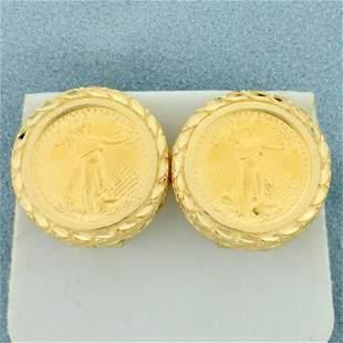 American Eagle Gold Bullion 5 Dollar Coin Earrings In