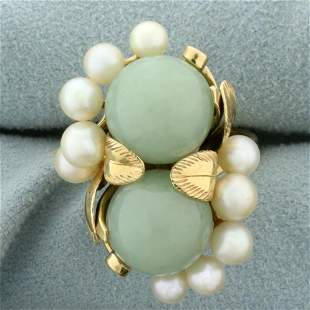 Designer Ming's Hawaii Jade and Pearl Leaf Design Ring