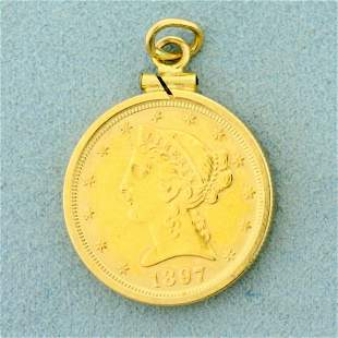 1897 Liberty Head Coin in 14k Gold Pendant